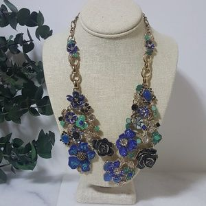 WHBM Blue Floral Statement Necklace